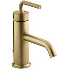 Buy the Kohler Vibrant Moderne Brushed Gold Direct. Shop for the Kohler Vibrant Moderne Brushed Gold Purist Single Hole Bathroom Faucet - Free Metal Pop-Up Drain Assembly with purchase and save. Glass Vessel Sinks, Vessel Sink Bathroom, Widespread Bathroom Faucet, Gold Bathroom, Lavatory Faucet, Bathroom Faucets, Bathrooms, Master Bathroom, Family Bathroom