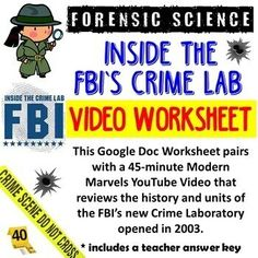 * Your purchase includes a 2-page worksheet and 2-page teacher answer key.* Files are Google Docs you can share with your students in Google Classroom or print out for them if showing the video in class. Files include a link to the free video.This Google Doc Worksheet pairs with a 45-minute Modern M... Substitute Teacher, Forensic Science, Google Docs, Forensics, Google Classroom, Teacher Newsletter, Higher Education, Worksheets, Crime