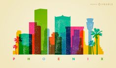 Colorful Phoenix cityscape skyline with major landscapes featured in the city. Great for traveling promos, banners and more.