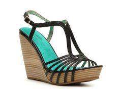 black wedge sandals