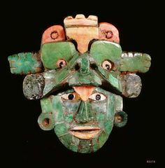 Maya. Jade, Bone, Shell. Small mosaic mask.