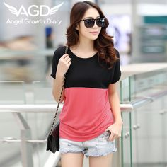 Find More T-Shirts Information about 2016 New Korean Summer Ladies Casual T shirt Ladies Loose Modal Short Sleeved T shirt Stitching Color Female Short Sleeved Shirt,High Quality shirt organizer,China shirt quality Suppliers, Cheap t-shirt glitter from Angel Growth Diary on Aliexpress.com