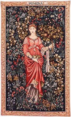 The Pomona tapestry by William Morris and Edward Burne-Jones, 1885. Pomona, the ancient apple queen, personifies Autumn in this pre-Raphaelite tapestry. She stands barefoot in a pink robe, w/ a leaf motif on bodice and sleeves. Hair tied back, she holds a harvest of apples in her right hand, and an apple branch in her left. The acanthus and sunflowers are reminiscent of backgrounds common in Medieval tapestries. It is typical of Morris & Co artists and weavers whose work was always…