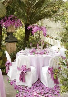 tablecloth and covered chairs patio purple