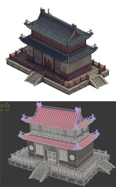 Heyang City - Temple Hall by Game scene model low-modulus model, all models have materials, textures format format : 2009 : OBJ : : FBX Minecraft City, Minecraft Projects, Asian Cafe, 3d Building Models, Japanese Buildings, Traditional Japanese House, Japanese Temple, Asian Architecture, Pixel Art