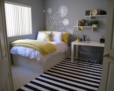 Creative Ikea Bedroom Design Ideas White Bed Frame And White Bedding White Lovely Pilloq And Grey Wallpaper Paint Ikea Bedroom And White Black Striped Carper White Work Table Glass Armless Chair And Wall Shelve Decoration Bedroom