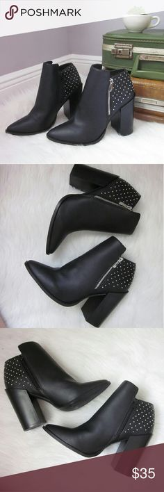 """HUGE SALE Heeled Studded Ankle Booties Check out my closet wide sale!  New without box! 4.5"""" heels. Man-made materials.   Bundle for best deals! Hundreds of items available for discounted bundles! You can get lots of items for a low price and one shipping fee!  Follow on IG: @the.junk.drawer JustFab Shoes Ankle Boots & Booties"""