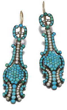 TURQUOISE PARURE, CIRCA 1830 A pair of ear pendants and a ring, set with cabochon turquoise and seed and half pearls.