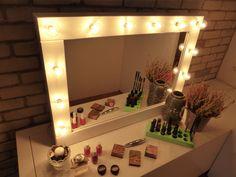 Maquillage miroir avec éclairage - miroir de courtoisie - Βlack ou blanc - Tenture murale - miroir de style Hollywood pour les accros au maquillage - maquilleuse de miroire