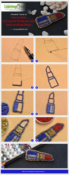 Pandahall Tutorial on How to Make Cool Lipstick Felt Brooch with Seed and Bugle Beads Bead Embroidery Jewelry, Beaded Embroidery, Bead Embroidery Tutorial, Hand Embroidery, Beading Tutorials, Beading Patterns, Loom Beading, Tambour Beading, Felt Brooch