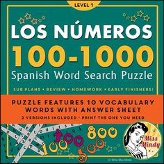 Los Numeros Spanish Numbers 100-1000 Word Search Puzzle worksheet offers practice for beginning Spanish students with the Spanish words for 100, 200, 300, 400, 500, 600, 700, 800, 900 and 1000. This basic puzzle worksheet can be used with younger students (4th grade, 5th grade, 6th grade) or with older Level 1 Spanish students.To solve the Word Search puzzle, students find all the words from the Word Bank (listed on the sheet).