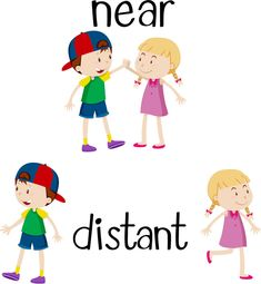 Opposite words for near and distant Royalty Free Vector English Activities, Preschool Learning Activities, Preschool Worksheets, Classroom Activities, Kids Learning, Teaching English, Learn English, Opposites Preschool, Ingles Kids