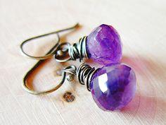 Amethyst Earrings Oxidized Silver wire wrap by thelittlehappygoose, $25.00