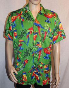 Motion Hawaiian Shirt Green Medium Parrots and Cocktails Aloha Parrot Head #Motion #Hawaiian