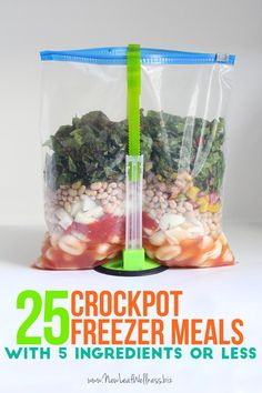 25 Crockpot Freezer Meals with Five Ingredients or Less. Free recipes and grocery list.