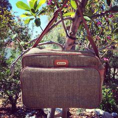 Vintage Samsonite luggage / tweed diaper bag