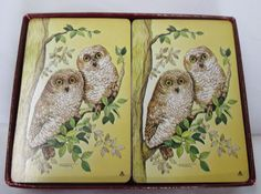 Vintage Caspari Playing Cards 2 Decks Elizabethan Garden Two Owls Belgium Made #Caspari