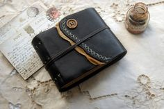 Small Things Black Leather Notebook Vintage by bibliographica