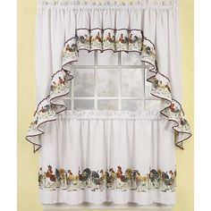 Mfr #: 51694.3Z.11, Style: Rooster Farm, Add To The Charm Of Your Kitchen,  Perfect To Provide Privacy, Includes: Valance And Two Panels, Printed Tou2026