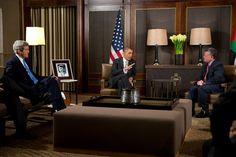 President Barack Obama and King Abdullah II of Jordan participate in a bilateral meeting at Al Hummar in Amman, Jordan, March 22, 2013. Secretary of State John Kerry is seated at left.
