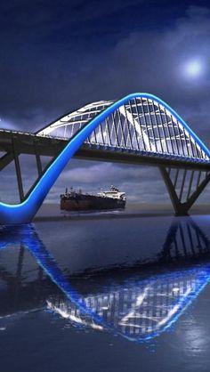 Amazing Architecture Around the World - Part 2 Pics), Bridge, Bahrain. Futuristic Architecture, Amazing Architecture, Architecture Design, Bridge Design, Covered Bridges, Civil Engineering, View Photos, Laos, Places To See