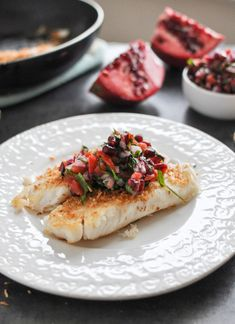 Coconut-crusted tilapia with a pretty pomegranate salsa: | 19 Easy Dinners That Will Impress The Heck Out Of Your Date