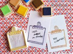 paper clip and paper hand carved rubber stamp by talktothesun