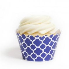 Blue and White Spanish Tile Birthday Party Cupake Wrappers