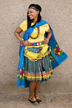 Tsonga Shangaan traditional wear 2018 Zulu Traditional Wedding Dresses, Tsonga Traditional Dresses, African Traditional Wedding, African Traditional Dresses, Traditional Outfits, African Attire For Men, African Dresses For Women, African Wear, African Women