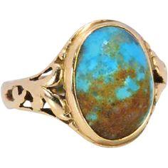 Allsop Bros. Art Nouveau Turquoise Ring