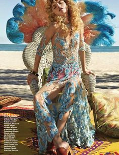 Best Editorials - Blumarine Spring Summer 2015 • Full-length tulle dress with sequin ramage embroidery. • D La Repubblica, Italy - June 6, 2015