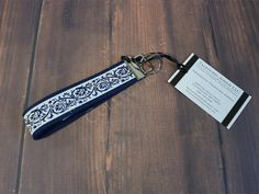 Blue, Ivory Wristlet Keychain - Fabric Key Fob - Key Holder - Womens Keychain…