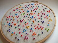Love this simple french knot, polka dot embroidery.