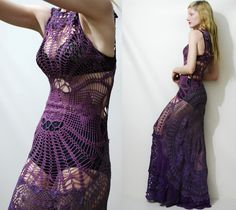 Crochet Dress VINTAGE LACE Spiderweb Purple OMBRE by cruxandcrow