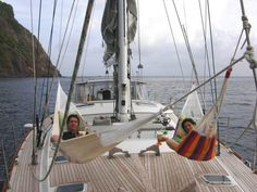Hammock Hangin' off of St Barth's! #liveaboard #boatlife Follow a couples journey of buying a liveaboard and sailing around the world. www.manifestourdreams.com