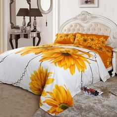 Yellow White and Orange Sunflower Blossom Print Full, Queen Size Bright Colorful Cotton Bedding Sets Cheap Bedding Sets, Cotton Bedding Sets, Bedding Sets Online, Queen Bedding Sets, Luxury Bedding Sets, Comforter Sets, Modern Bedding, Peach Bedding, Orange Bedding