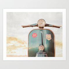 The Blue Vespa Art Print by Hello Twiggs - $19.00