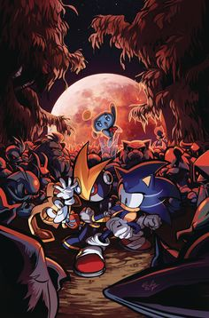 Sonic the Hedgehog cover been making the rounds! Painting the blood wolf moon was a hair too topical for it to line up with solicits but I can't deny the allure of pink. I thought the warm hues would give the scene more intensity than dread. Rocket Raccoon, Games Images, Wolf Moon, Sonic Art, Comic Page, Comic Book Covers, Detailed Image, Mind Blown, Sonic The Hedgehog