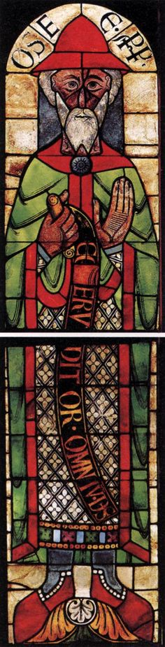 ROMANESQUE GLASS PAINTER, German  Hosea, after 1132, Stained glass window, 220 x 50 cm; Cathedral, Augsburg