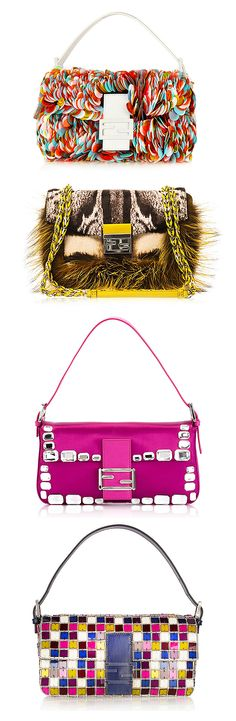 Fendi Baguette bags in every unique style. Want them all in my closet. #Fendi #Bags #Baguette