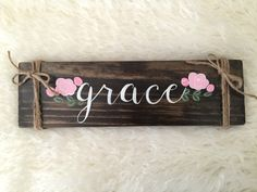 Items similar to Grace wood sign, Rustic Sign, Wall Art, Wall Gallery on Etsy Diy Wood Signs, Painted Wood Signs, Rustic Signs, Wall Signs, Hand Painted, Fence Signs, Pallet Crafts, Pallet Art, Wooden Crafts