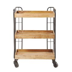 Mango Wood and Black Metal Industrial Serving Trolley Troly on Maisons du Monde. Take your pick from our furniture and accessories and be inspired! Metal Shelves, Wood Storage, Wood And Metal, Black Metal, Living Room Furniture, Home Furniture, Serving Trolley, Esthetician Room, Dream Rooms