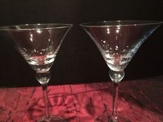 "2 Martini Stemware Barware Liquor Clear Glass w/ Stem 8""x4 1/2"""