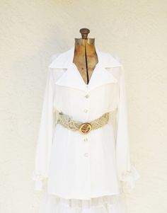 Vintage Creamy White Sheer LongSleeve Blouse by AlegriaCollection, $25.00