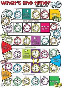 "What´s the time BOARDGAME - You need small pieces of paper and a dice. Groups of two or four students. Throw the dice and say the time according to the clocks in the square. If some students fall in the ""happy clock"", then they have to move their pieces to the following. The winner will be the first who reaches the finish! Enjoy! Thank you. Cha. - ESL worksheets by angeline"
