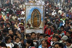 12 December: Feast Day for the Virgen de Guadalupe | Pilgrims carry an image of Our Lady of Guadalupe toward the Basilica of the Virgin of Guadalupe in Mexico City, Dec. 11. Hundreds of thousands of Mexicans are making the pilgrimage to the shrine in anticipation of the Catholic icon's feast day on Dec. 12.