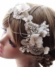 Bohemian French Lace Swarovski Crystals Bridal Wedding Headpiece Tiara Headdress