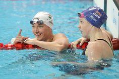 Hannah Miley of Great Britain talks with Katinka Hosszu of Hungary