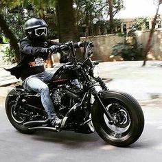 Awesome custom bike Harley-Davidson Sportster by Thunderbike. Harley Bobber, Chopper Motorcycle, Harley Bikes, Motorcycle Travel, Bobber Chopper, Motorcycle Design, Motorcycle Style, Custom Paint Motorcycle, Custom Bobber