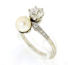 """white gold """"Toi et Moi"""" ring set with diamonds and saltwater natural pearl Pearl And Diamond Ring, Pearl Ring, Vintage Silver Rings, Vintage Jewelry, Luxury Watches, White Gold, Engagement Rings, Antiques, Shank"""